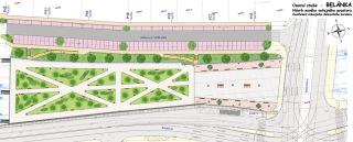 Obr. 4 Územní studie – Belánka. Návrh nového veřejného prostoru. Zastřešení stávajícího koridoru. Varianta B