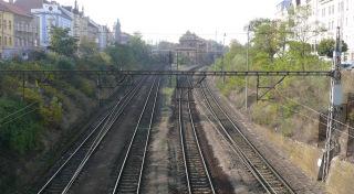 Obr. 3 Železniční koridor Plzeň – Cheb rozděluje městský prostor a vytváří umělou bariéru pohybu osob. Stávající stav