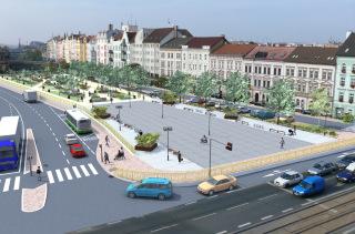 Obr. 8 Územní studie – Belánka. Návrh nového veřejného prostoru. Zastřešení stávajícího koridoru. Varianta 2B, vizualizace