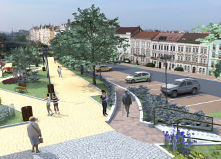 Obr. 7 Územní studie – Belánka. Návrh nového veřejného prostoru. Zastřešení stávajícího koridoru. Detail, varianta 2B, vizualizace
