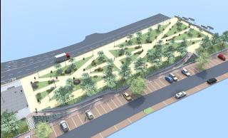Obr. 6 Územní studie – Belánka. Návrh nového veřejného prostoru. Zastřešení stávajícího koridoru. Pohled od Hálkovy ulice, varianta 2B, vizualizace