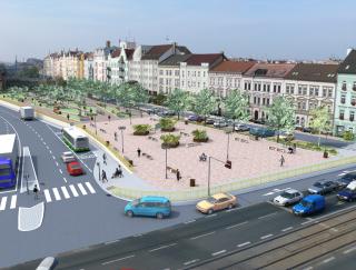 Obr. 1 Územní studie – Belánka. Návrh nového veřejného prostoru. Zastřešení stávajícího koridoru. Varianta 3B, vizualizace