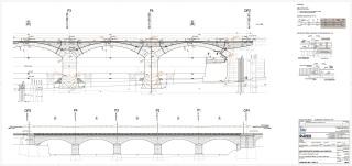 Obr. 10. Řez a pohled částí viaduktu nad Vltavou