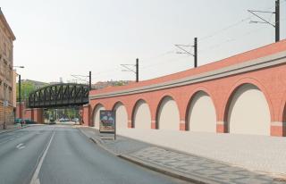 Obr. 05. Vizualizace cihelné části viaduktu a přemostění ulice Prvního pluku