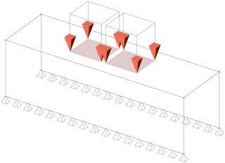 Obr. 5a Aplikace zatížení na numerický model – mostař