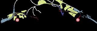 Situace úseku dálnice D1 Prešov západ – Prešov jih délky 7 870 m s vyznačením trasy tunelu Prešov