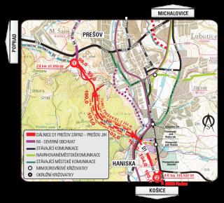 Situace úseku dálnice D1 Prešov západ – Prešov jih délky 7 870 m