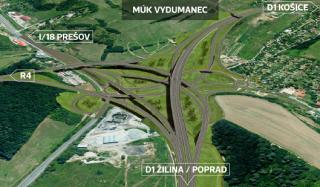 Začátek trasy nově budovaného úseku D1 Prešov západ – Prešov jih – složitý dopravní uzel MÚK Prešov západ, vizualizace