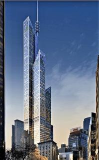 Obr. 12 Nerealizovaný návrh Central Park Tower studia Rogers Stirk Harbour, 2013 (zdroj: Extell)