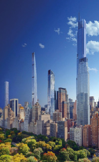 Obr. 13 Vizualizace pohledu na Billionaires' Row s věží CPT z roku 2015 (zdroj: YIMBY)