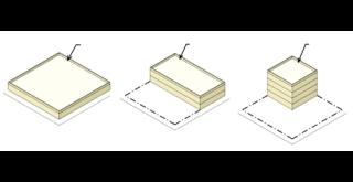 Obr. 07 Princip přeskupování povoleného objemu zástavby v rámci plochy pozemku