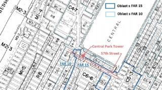 Obr. 09 Situace s FAR v okolí věže Central Park Tower a ulice West 57th Street (s využitím [5])