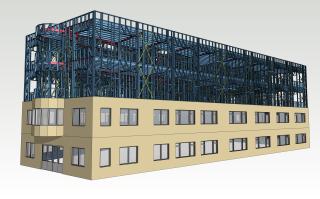 Obr. 04 Vizualizace ocelové konstrukce na nástavbě multifunkční budovy v Praze 8
