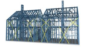 Obr. 07 Vizualizace ocelové konstrukce dvojdomku – obytný soubor Zelený Zlonín