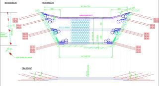 Obr. 09 Ukázka bariéry VX, kterou lze díky konstrukci a fixaci pomocí lanových kotev umístit přímo do koryta VT nebo do strže, systém je možné použít i pro zachycení spláví