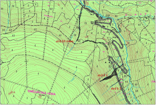Obr. 02 Mapa se zákresem jednotlivých strží