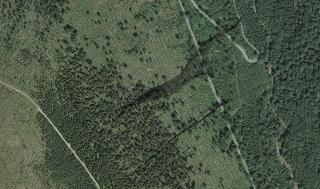 Obr. 04 Letecká mapa se zákresem zaměření strže S1 a S2