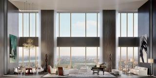 Obr. 13 Vizualizace obývací haly duplexů v nejvyšších patrech věže (foto: Knight Frank)