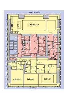 Obr. 19 Půdorys typického obytného podlaží v úseku v polovině výšky věže (zdroj: CTBUH)