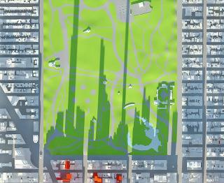 Obr. 08 Stíny nových mrakodrapů podle studie Accidental Skyline (zdroj: NY Municipal Arts Society)