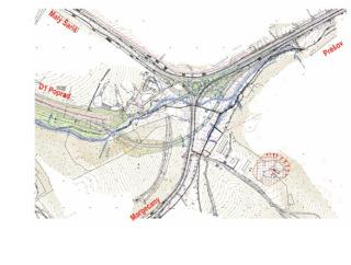 Obr. 02 Prehľadná situácia križovatky Prešov západ po dokončení 1. etapy výstavby (stav v roce 2008)
