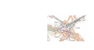 Obr. 03 Prehľadná situácia križovatky Prešov západ po dobudovaní diaľnice D1 Prešov západ – Prešov juh. Celkom jedenásť mostných objektov križovatky zabezpečí kríženie a vzájomné prepojenie vetiev križovatky v troch výškových úrovniach (stav v roce 2021).
