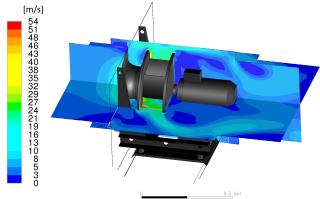 Obr. 1 Rychlostní pole ve ventilátorové komoře ALTEKO Tango 4 při 2500 ot/min