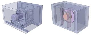 Obr. 2 Geometrie ventilátorových komor ALTEKO Tango 4 (vlevo) a ALTEKO Alton 3 (vpravo)
