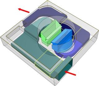 Obr. 4 Geometrie přívodního (modře) a odvodního kanálu (zeleně); žlutě ohraničeny oblasti s filtry vzduchu