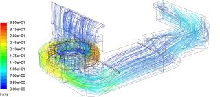 Obr. 6 Výsledky simulace přívodního kanálu – trajektorie proudění