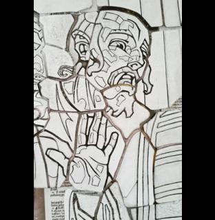 """Obr. 14b I. zastavení. Detaily. Výrazová figura v pozadí (Farizeus křičí: """"Ukřižujte ho!"""") - naše soudobá grafická podkresba"""