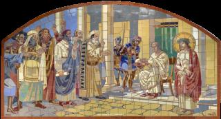 Obr. 15 I. zastavení – Pilátův soud, nová mozaika