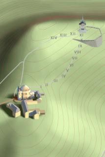 Obr. 02 Schéma vrcholu Hostýna; rozložení věnce kaplí kolem obvodu pětihektarové louky (od grafika  Mgr. Jana Mageta)