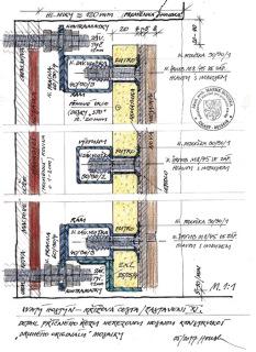 Obr. 21 Detailní řez předsazenou konstrukcí a novou mozaikou (zdroj: akad. arch. M. Houska)