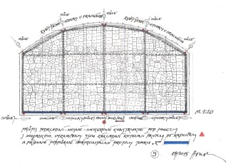 Obr. 12 Kladečský plán mozaiky se zakreslenou nosnou konstrukcí (zdroj: akad. arch. M. Houska)