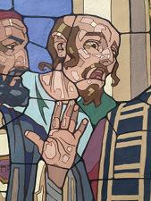 """Obr. 14a I. zastavení. Detaily. Výrazová figura v pozadí (Farizeus křičí: """"Ukřižujte ho!"""") - originální karton v tempeře z roku 1932"""