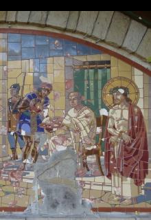 Obr. 07 I. zastavení – Pilátův soud; detail rozpadlé původní mozaiky