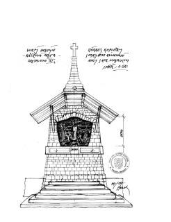 Obr. 20 XI. zastavení – náčrt kapličky s kótami zaměření (zdroj: akad. arch. M. Houska)