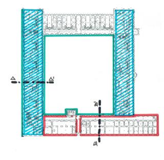 Obr. 11b Koncepce sanačních úprav budov. Půdorys 1.NP.