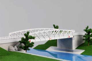 Stavba 004 – Silniční most na silnici III 24635 – Lužec nad Vltavou – severní pohled (foto modelu)