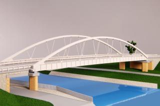 Stavba 001 – Silniční most na silnici III/24635 – Vrbno – severní pohled (foto modelu)