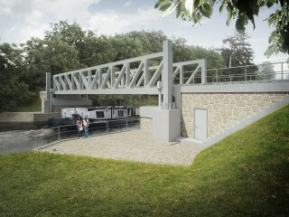 Stavba  003.B  –  Železniční  most  Lužec  nad  Vltavou  –  severní  pohled  (vizualizace)