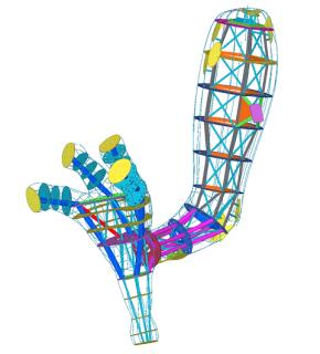 Obr. 10 3D model – jedna z nohou draka