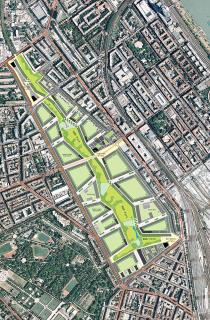Urbanistická studie na zástavbu plochy 44 ha bývalého Severovýchodního nádraží z roku 2008