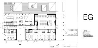 Půdorys přízemí; 1 – vchod, 2 – kancelářské prostory, 3 – kolárna, 4 – herna pro děti, 5 – společná kuchyň, 6 – kavárna