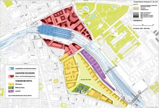 Strategický plán Sonnwendviertel – vlakové nádraží a dráha (modře), sociální bydlení (žlutě), campus (zeleně), obchod a služby (červeně), živnostníci (fialově)