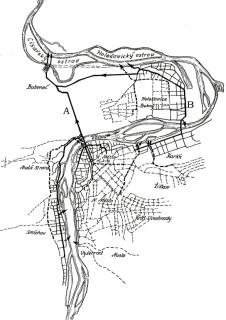 Obr. 02a Schéma pražské kanalizační sítě – soustava A–B