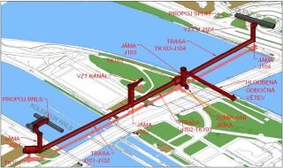 3D situace kolektoru Hlávkův most