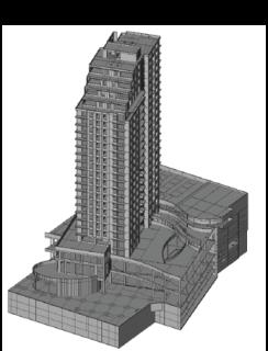 Obr. 09 Výpočtový model věže B v programu SCIA Engineer