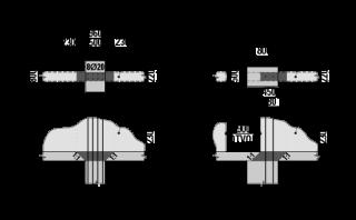Obr. 13 Nevyhovující přechody mezi stěnovým systémem věže a sloupy ve 4.NP